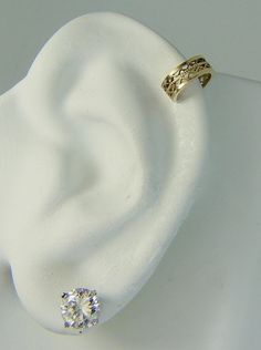 Helix Earring Cartilage Piercing Ear Cuff Gold Hex Upper