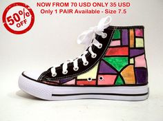 Shop for on Etsy, the place to express your creativity through the buying and selling of handmade and vintage goods. Painted Sneakers, Converse Chuck Taylor, 50th, High Top Sneakers, Hand Painted, Pairs, Shapes, Street, Creative