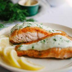 Crispy pan-fried salmon with creamy wasabi dill sauce made with greek yogurt and sour cream