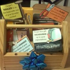 """Father's Day """"Tool Box"""" Gift Set    This Father's Day, give dad a tool box that is a little less traditional. Inexpensive and cheesy cute, this gift is full of goodies and small gifts. You can print out the corresponding tags for each gift for free on the blog post."""