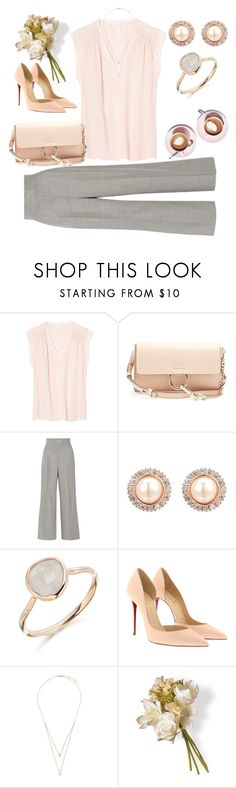 """""""Delicate"""" by valente-i ❤ liked on Polyvore featuring Rebecca Taylor, Chloé, Casasola, Christian Louboutin, Messika and National Tree Company"""