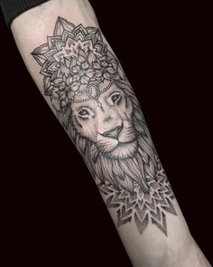 Lion and Mandala piece done by Louise. Wrist Tattoo Cover Up, Leg Sleeve Tattoo, Dot Work Tattoo, Calf Tattoos For Women, Mandala Tattoos For Women, Mandala Lion Tattoo, Mandala Tattoo Design, Dot Tattoos, Feather Tattoos
