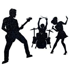 """Rock and Roll Kit - Get ready to rock your Homecoming theme with this Rock and Roll Kit featuring three sturdy black cardboard silhouettes. Guitar player is 6' high x 47"""" wide; drummer measures 5' 6"""" high x 47"""" wide; girl singer measures 5' 8"""" high x 32"""" wide. All are 9"""" deep."""