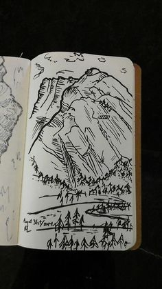 robyn-la:  Mountain sketches from my Banff climbing weekend, #1