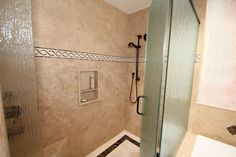 Groutless showers are soooo easy to maintain!  and so beautiful too!
