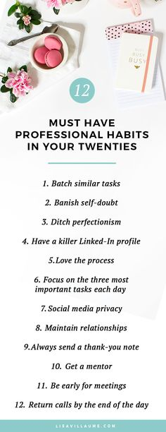 From banishing self-doubt to ditching the need to be perfect, these twelve professional habits will skyrocket your career progress in your twenties. #career #jobsearch #employment