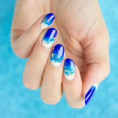 summer nails, beach shore nails
