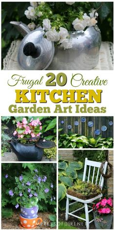 If you have a bunch of kitchen items sitting in your cupboards that you never use, why not give them a new life as garden art and decor? Here's 20 simple ideas to make your garden unique. Diy Garden Projects, Garden Crafts, Diy Garden Decor, Garden Ideas, Backyard Ideas, Most Beautiful Gardens, Unique Gardens, Container Gardening, Gardening Tips