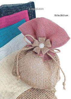 Favores de arpillera rosa bautismo niña favorece la bolsa rústico bomboniere griego bebé niña bautismo favores idea bebé niña invitados regalos de boda