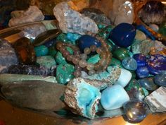 Blue Ray Crystals cooling soothing Lapis lazuil, blue aragonite,  blue calcite, and others