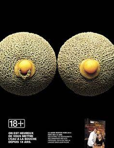 """L'equivalente canadese della guida Michelin è la """"Le guide des Restos"""" che ha deciso di celebrare il 18esimo anno di età affidandosi ad una campagna pubblicitaria che mette in relazione il cibo e il sesso.  La campagna è stata condotta da Publicis, mentre gli scatti fotografici sono della coppia Leda & St. Jacques.  Così un'ostrica diventa una vagina, la carne di manzo un pene e via alle allusioni ben marcate, in basso a sinistra si legge il claim della campagna: """"Siamo lieti di mettervi…"""