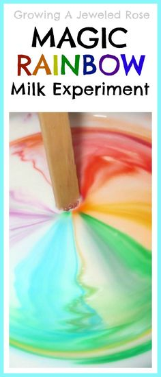 Magic RAINBOW milk- super fun Science for kids! Other great hands on science activities as well! STEM. STEAM.