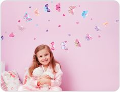 Butterfly wall stickers make decorating girls rooms easy. $39.95 Available from www.brightstarkids.com.au
