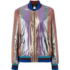 Michel Klein metallic stripe bomber ($494) ❤ liked on Polyvore featuring outerwear, jackets, grey, grey bomber jacket, gray bomber jacket, multi-color leather jackets, multi colored jacket and michel klein