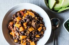 """The Mighty Bean. Smoky Black Bean and Sweet Potato Chili. """"Tips for cooking beans, and a recipe for a hearty vegan chili. It's easy and delicious, and it'll knock the socks off any guest -- vegan, omni, and everyone in between. Dried Black Beans, Dried Beans, Beans Beans, Chili Recipes, Vegetarian Recipes, Healthy Recipes, Raw Recipes, Potato Recipes, Dinner Recipes"""