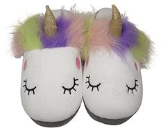 b80738c87f2 Plush Unicorn Slippers for Women - Plush Fuzzy Fluffy Cute Shoe (Womens 7-8