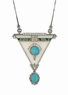 AN ART DECO ROCK CRYSTAL, TURQUOISE AND DIAMOND PENDANT - The carved rock crystal triangular panel set to the centre with a turquoise cabochon and old-cut diamond cluster, with further buff top turquoise and rose-cut diamond geometric band detail, suspen Bijoux Art Nouveau, Art Nouveau Jewelry, Jewelry Art, Antique Jewelry, Vintage Jewelry, Fine Jewelry, Jewelry Design, Jewellery, Vintage Brooches