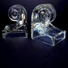 Swirl Glass Book Ends