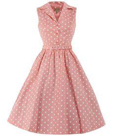 Vestido sin mangas unicolor con puntos, un clásico de la moda vintage de los años 50.