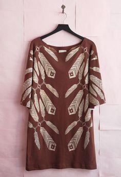 Ivana Helsinki Print Dress - Terracotta