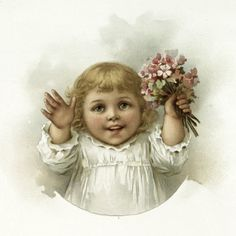 Nostalgic Adorable Girl with Pink Bouquet Image!