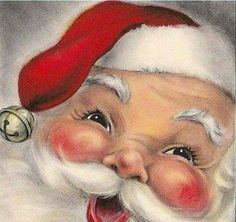 Vintage Smiling Santa Claus with Bell Christmas Greeting Card, Christmas Scenes, Christmas Past, Father Christmas, Christmas Bells, Christmas Holidays, Christmas Crafts, Xmas, Silver Christmas, Christmas Countdown