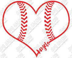 Angels Baseball Heart Cutting File in SVG EPS DXF JPEG and PNG