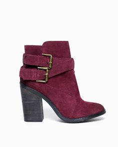 Wine Suede Booties