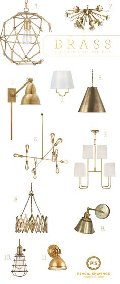 www.pencilshavingsstudio.com  @psstudio top picks for brass lighting, brass sconces, gold hardware, brass chandelier, brass fixtures,