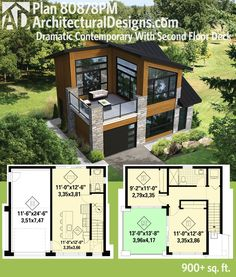 Get a deck over the garage and over 900 square feet of living with Architectural Designs Modern House Plan 80878PM. Ready when you are. Where do YOU want to build?