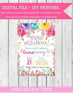 Boho Young Wild & Three Personalized birthday by EmmaSueBowtique