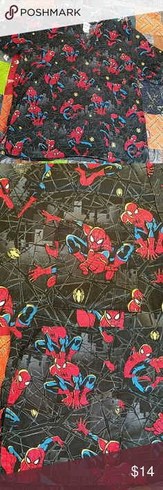 Spiderman Unisex Scrub top Spiderman V Neck Unisex Scrub top. Size Large. 2 bottom pockets with one breast pocket. Used but in good condition. No stains. Selling because new job is solid scrubs only. More scrubs listed Tops