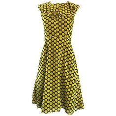 Preowned Chic 1970s Yellow And Navy Blue Polka Dot Chiffon A - Line... ($695) ❤ liked on Polyvore featuring dresses, cocktail dresses, yellow, vintage chiffon dress, navy polka dot dress, vintage a line dresses, vintage polka dot dress and yellow polka dot dress
