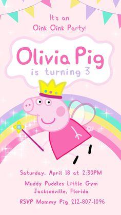 Peppa Pig Fairy Theme Party Video Invitation, Peppa Pig Part… – Cartoon Ideas Peppa Pig Birthday Invitations, Pig Birthday Cakes, Fairy Birthday Party, 3rd Birthday Parties, Peppa Pig Birthday Ideas, Peppa Pig Party Ideas, Birthday Celebration, Invitacion Peppa Pig, Peppa Pig Videos