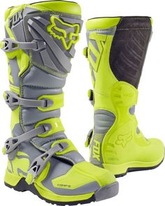 Fox Racing Youth Hi-Vis Yellow/Grey Comp 5 Dirt Bike Boots 2017 ATV MX Kids Motocross Boots, Mens Motorcycle Boots, Motocross Gear, Atv Gear, Mx Boots, Grey Boots, Riding Boots, Combat Boots, Boots 2017