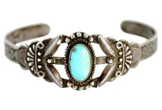 "Maisel's Trading Post Bracelet on OneKingsLane.com As described by Yourgreatfinds 1940s Navajo ""pretty girl"" bracelet hallmarked by Maisel's Trading Post of Albuquerque. Set with Cerrillos Mine turquoise."