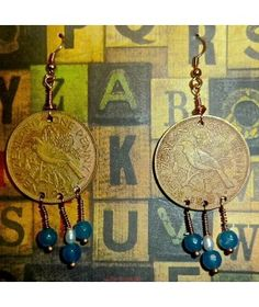 ANTIQUE NEW ZEALAND 1950'S PENNIES WITH JADE AND PEARLS  http://www.thesoulshoppe.com/earrings/1247-antique-new-zealand-1950-s-pennies-with-jade-and-pearls.html
