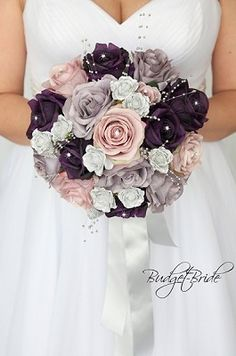Silver, plum and dusty lavender wedding flower brides bouquet with silver pearls