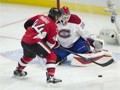 Ottawa Senators' Jean-Gabriel Pageau tries to put the puck past Montreal Canadiens goalie Mike Condon during second period NHL action Sunday, Oct. in Ottawa. World Sports News, Montreal Canadiens, Nhl, Football Helmets, Motorcycle Jacket, Oct 11, Ottawa, Gabriel, Period
