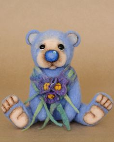 J.J. Huggles-Needle Felted Teddy Bear. 5-way thread jointed and weighted with steel shot.