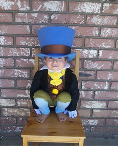 Custom Made Jiminy Cricket from Pinocchio Costume with Wellington Style Top Hat and green breeches and tuxedo coat