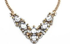 Brave heart statement clear fashion necklace white gold www.thehangoutb.com