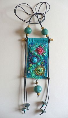 Go with the flow this bohemian jewelry is embroidered felt in Fiber Art Jewelry, Textile Jewelry, Fabric Jewelry, Jewelry Art, Beaded Embroidery, Hand Embroidery, Embroidery Stitches, Jewelry Crafts, Handmade Jewelry