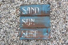 Sand Surf Sun Handpainted Wooden Sign by KicksCrafts on Etsy for $35