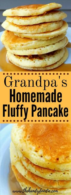 Grandpa's Homemade Fluffy Pancake . This is the best pancake I have ever eaten. easy pancake l traditional pancake l yummy breakfast l easy recipe Pancake Recipe Easy Fluffy, Homemade Pancakes Fluffy, Best Pancake Recipe, Pancakes Easy, Fluffy Pancakes, Homemade Pancake Recipes, Pancake Recipe With Vinegar, Breakfast Dishes, Breakfast Recipes