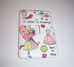 Shopping themed single light switch cover by MoanasUniqueDesigns, $12.00