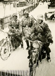 The days of riding BMW R35's in extreme winter conditions