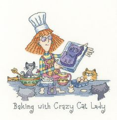 On Holiday with Crazy Cat LadyCROH1399 New cross stitch kit design by Peter Underhill for Heritage Crafts. Contents: 14 count or 27 count evenweave fabric, threads, needle, chart and full instructions. Size: 18cm x 30.5cm *Please allow upto 7 working days for dispatch*