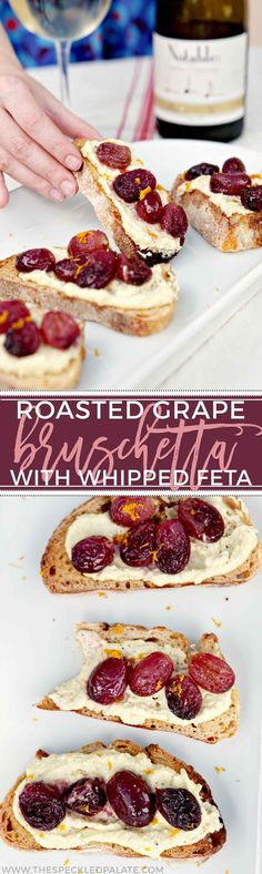 Msg 4 21+ Host friends for a patio wine tasting party this summer! Roasted Grape Bruschetta with Whipped Feta makes a delicious appetizer to pair with white wines. #ad #Chardonnation #SpringWine