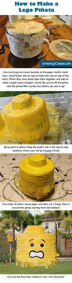 How to make a Lego Pinata using an ice cream bucket.